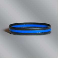 Black & Blue Fallen Officer Stock Silicone Bracelet
