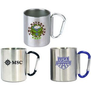 10 Oz. Brushed Stainless Steel Carabiner Camping Mug